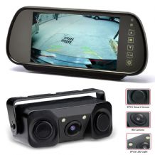 CISBO Video Parking Sensors & Reverse Camera + 7 Inch Mirror Clip-on Monitor